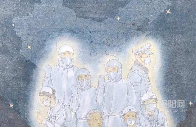 資陽抗疫美lang)shu)作品︰《戰疫情》