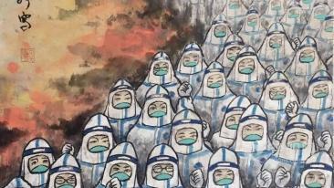 資陽抗疫美術作品︰《築(zhu)起我們新的長城》