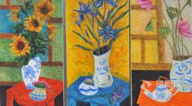资阳抗疫美术作品:《春暖花开》